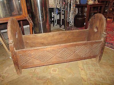 "Hand Carved~Antique~Primitive~Wood~Baby Cradle~Crib~Bed~Colonial Era~31""~RARE"