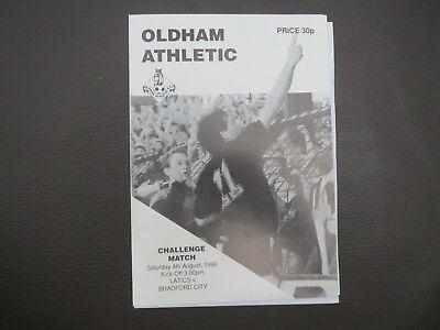 Oldham V Bradford City Friendly 1990 with team sheet