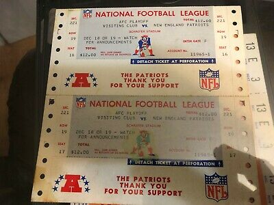 Vintage 60`S 70'S New England Patriots football Tickets Sheet Of 2 Super RARE