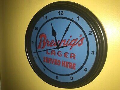 *Breunig's Lager Beer Bar Advertising Man Cave Clock Sign