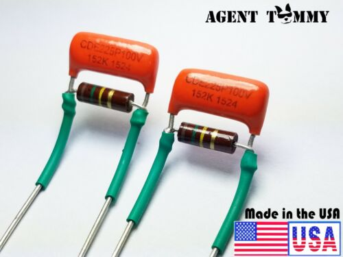 Treble Volume Bleed Circuit Kit .0015uf Orange drop cap 150k Allen Bradley 2pcs