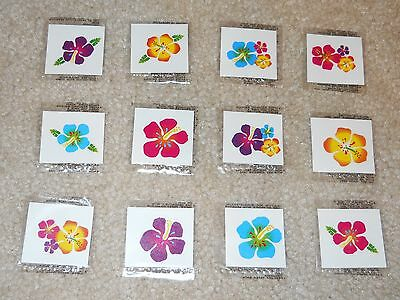 Lot of 12 Hibiscus flower glitter temporary tattoos Luau party favor goody bags (Hibiscus Flower Tattoos)