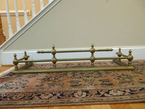 """Antique Victorian Style Solid Brass Fireplace Fender - 42"""" long"""
