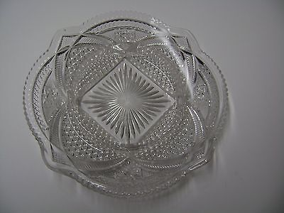 VINTAGE CRYSTAL PRESSED GLASS CANDY DISH - 8 INCHES WIDE