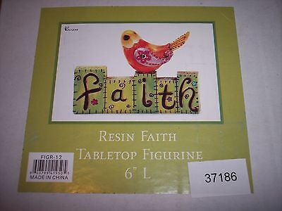 "Garden Letter Block Word Figurine - Faith with Bird, 6"" Long"