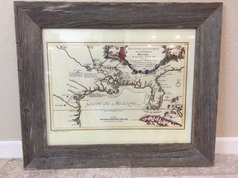 Framed Early Map Southern North America  (Early America Art Wall Decoration)