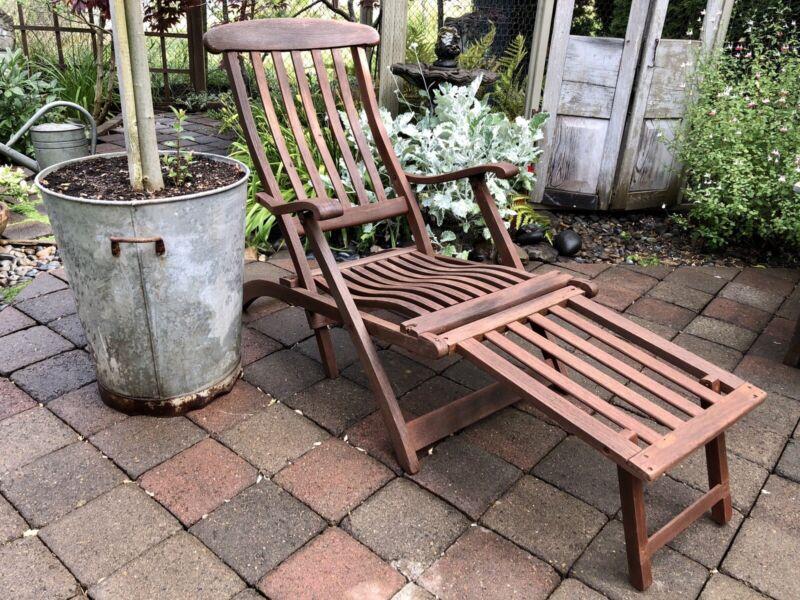 ANTIQUE Wooden STEAMER SHIP DECK LOUNGE Chair