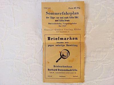 Sommerfahrplan der Züge von und nach Köln Hbf. und Köln-Deutz Mai 1947 Rheinufer