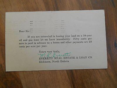 Old Vintage Advertising Postcard Everett Real Estate Loan Dickinson North Dakota