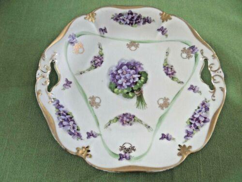 Antique ES 1811 Porcelain Cake plate Purple Violet Flowers. 1900-1918 Germany