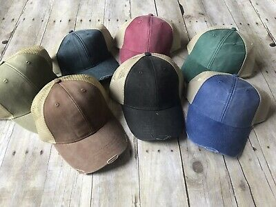 Adams 6-Panel Hat Pigment-Dyed Distressed Trucker Cap OL102 NEW Adams, 6 Panel