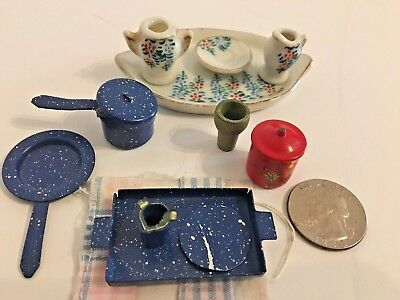 Dollhouse Miniature Food Dishes Blue Tin Enamelware Porcelain Serving Tray Coke