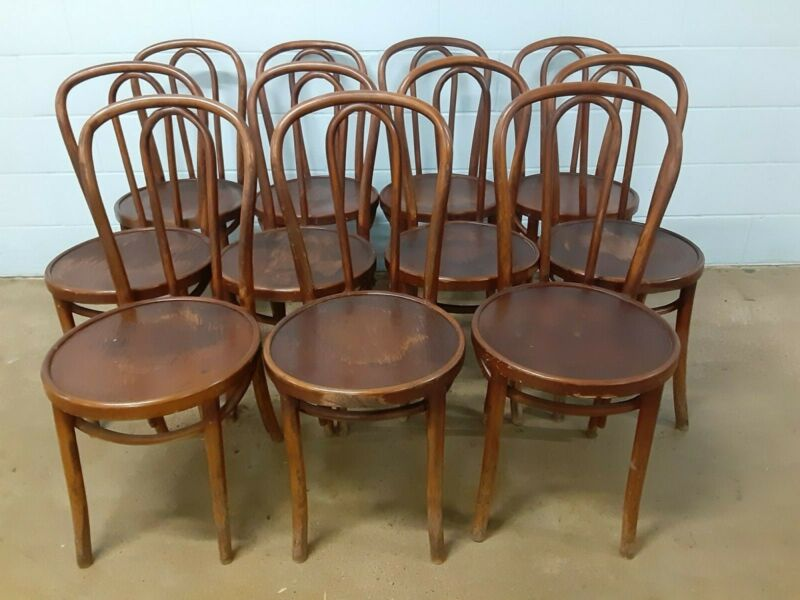 Set of 11 THONET Antique Bentwood Chairs / Some With Original Factory Labels