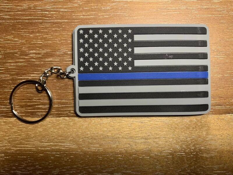 Thin Blue Line Flag Keychain Reverse Battle Flag Pvc