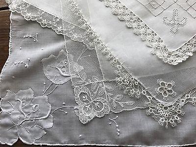 Vintage Lot 5 Lace Embroidered White Wedding Bridal Hankies Handkerchiefs