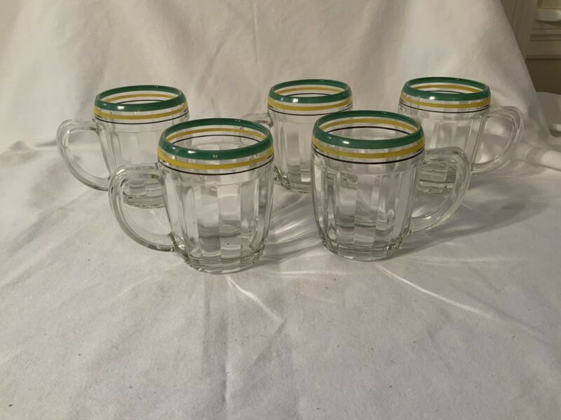 "5 Pillar Optic Crystal 4"" Mugs Green Yellow Black Stripes"