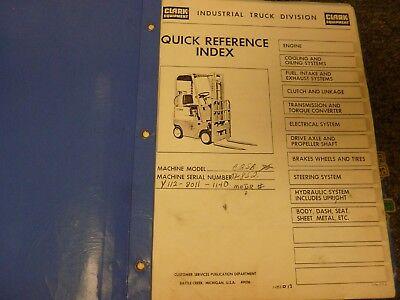 Clark Model C25b Forklift Lift Truck Parts Catalog Manual