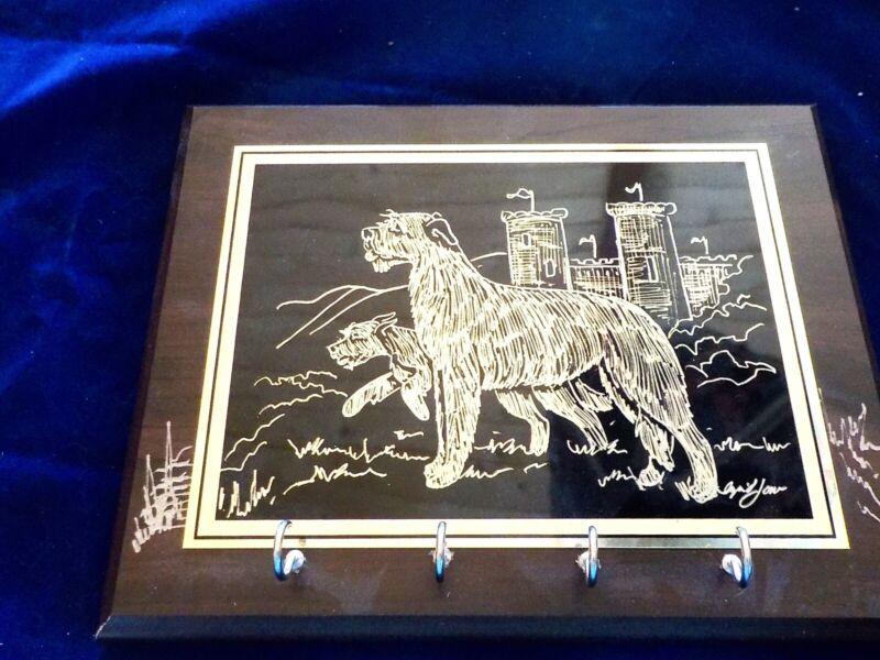 Irish Wolfhound freehand engraved and signed 8x10 key/leash rack original artwo