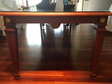 Stunning timber dinning table with thick glass top Clear Island Waters Gold Coast City Preview