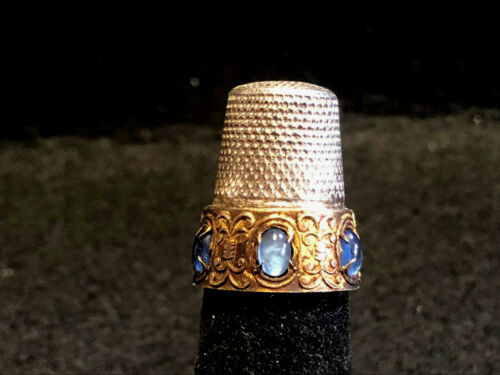 Old Vtg Sterling Silver With Blue Stones Decorative Design Sewing Thimble Sz.5