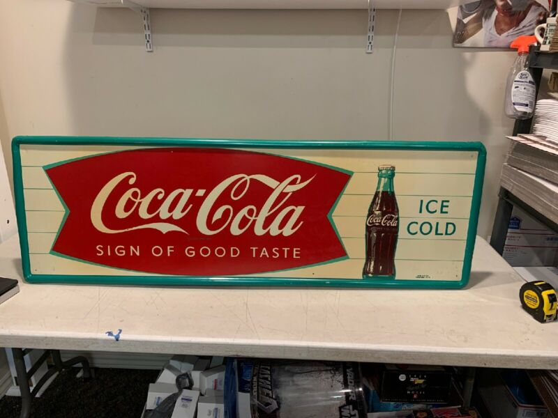 Vintage Coca Cola Sign Of Good Taste Ice Cold Metal Fishtail Sign Robertson 53""