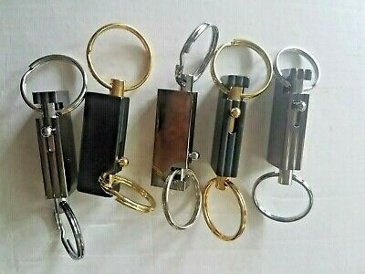 Lot of 5 Keychains Quick Release Dual Key Rings Black & Silver Rectangle Shape