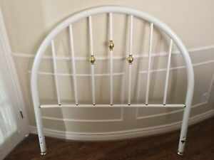 Rounded White Metal Headboard and Footboard