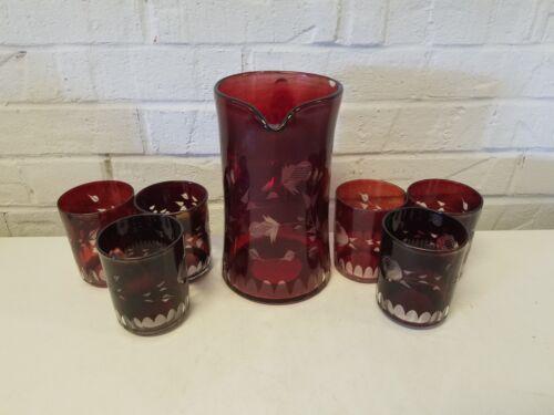 Vintage Cranberry Flash Glass Pitcher and 6 Cup Set w/ Etched Floral Dec.