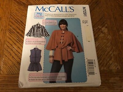 McCalls Pattern M7291 Ms LEARN TO SEW Capelets~Vest & Belt  EASY! Easy To Sew Patterns