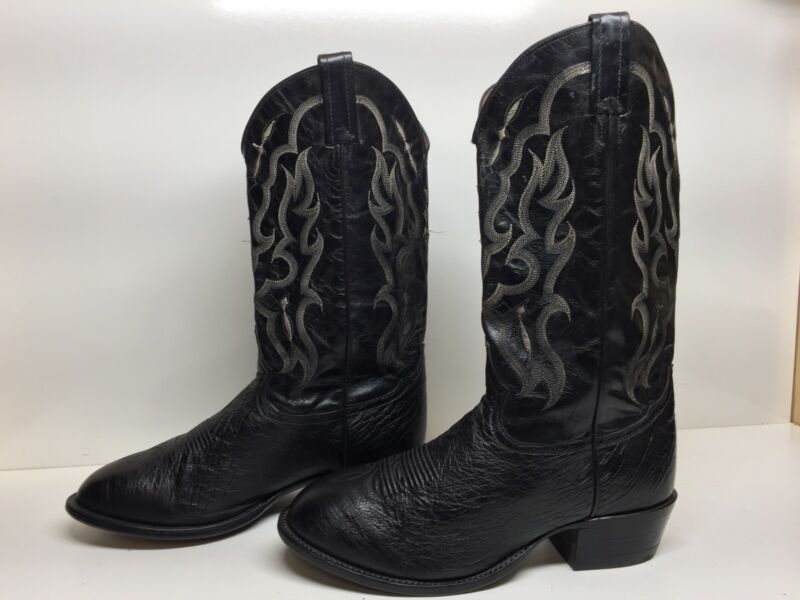 #A, MENS, TONY, LAMA, COWBOY, SMOOTH, OSTRICH, LEATHER, BLACK, BOOTS, SIZE, 9, EE, Defects