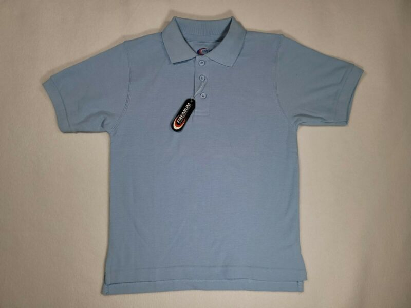 Boys Lt. Blue Polo Short Sleeve Pique Knit Premium Authentic Uniform Shirt