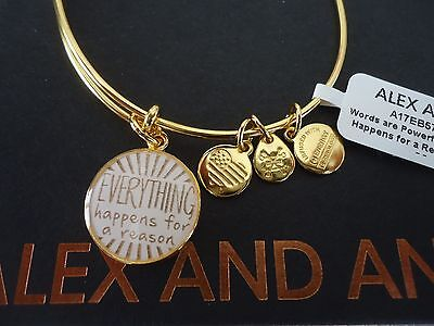 Alex And Ani Everything Happens For A Reason Ii Shiny Gold Bangletag Card   Box