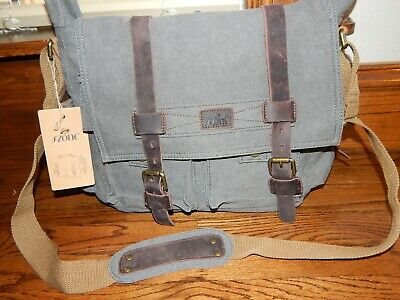 S-ZONE Vintage Style Canvas & Leather Messenger Traveling Briefcase Laptop