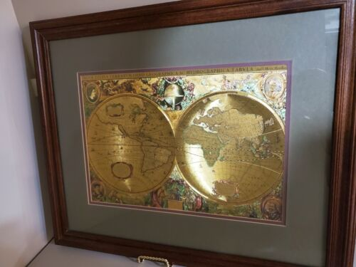 Gold Foil Map by Henri Hondio Nova Totivas Terrarvm Orbis Geographic etc