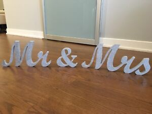Mr and Mrs Sign Silver Glitter