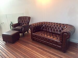 Leather Chesterfield lounge suite Newstead Brisbane North East Preview