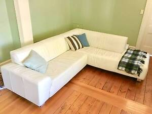 White Leather Corner Sofa Couch Woollahra Eastern Suburbs Preview