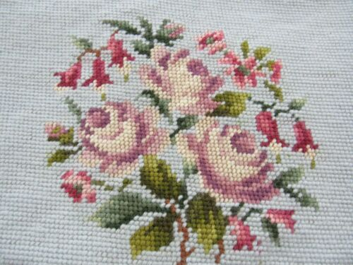 """Mostly Completed Needlepoint FLORAL Vintage Upholstery 20x20"""" BLUE Background"""