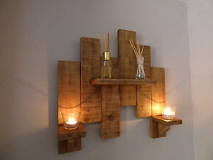 Wooden Wall Candle Holders With Shelf Handmade Rustic