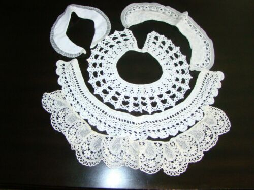 Vintage Lot of 5 Lace Crochet Crocheted Pearls Monogrammed G Neck Collar