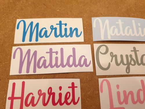Custom Personalised Name Word Vinyl Decal Fancy Script Font Sticker Text Label 5