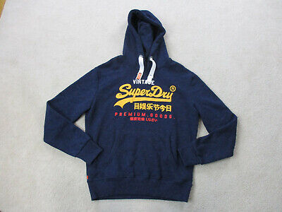 SuperDry Sweater Adult Extra Large Blue Yellow Hoodie Hooded Pullover Mens