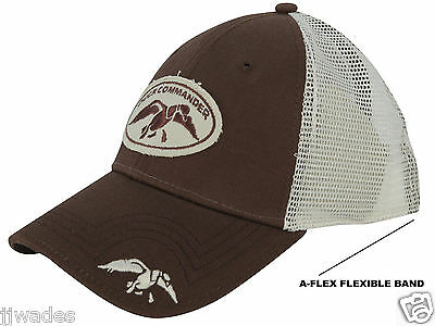 Authentic Duck Commander Flex Fit Cap   Hat Cotton Polyester Blend Brown    White 0ca37e364962