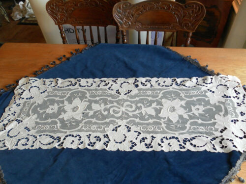 GORGEOUS FORAL FRENCH TAMBOUR LACE RUNNER CUTWORK SATIN STITCH EMBROIDERY ORNATE