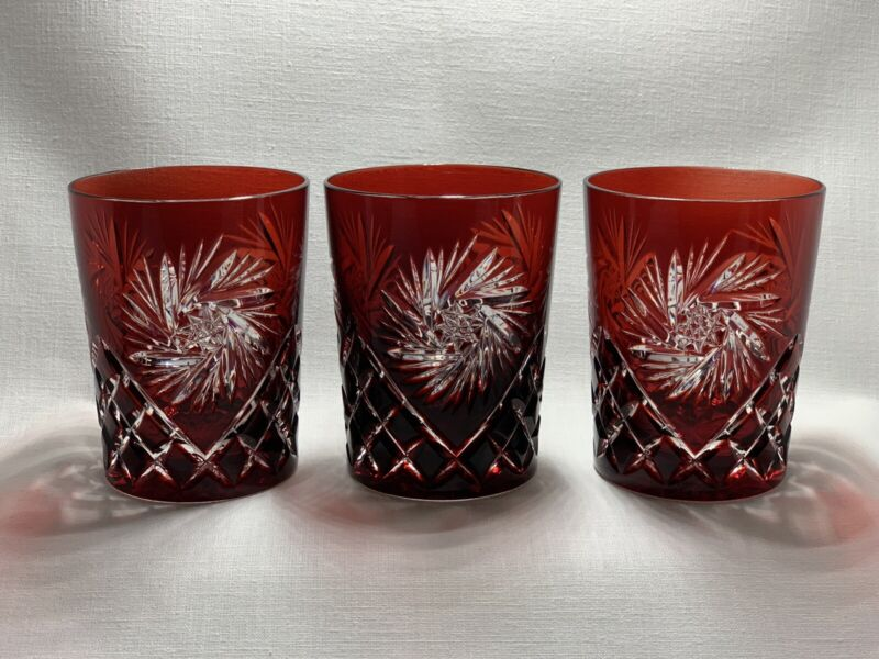 AJKA Cut to Clear Ruby Red Chrystal Whiskey Rocks Glasses Set of 3