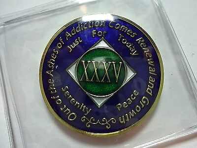 Na Tri Plate Narcotics Anonymous Blue Green   Gold Coin 35 Year Medallion