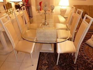 BEAUTIFUL FOSSIL STONE DINING TABE WITH 6 CHAIRS Brisbane City Brisbane North West Preview
