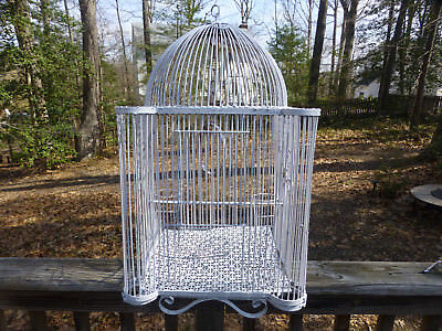 "Antique Victorian Country Metal Birdcage hanging hook & perch about 28"" x 18"""