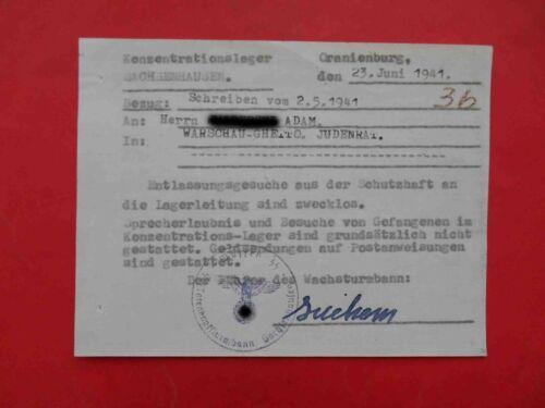 KZ Lager Sachsenhausen 1941 Genuine Document answer to relatives Judaica. Waffen
