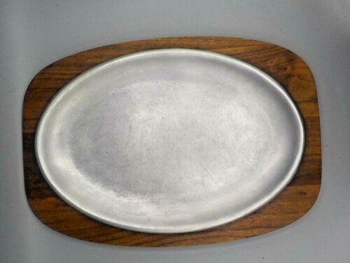 Mid Century Gladmark Walnut Wood Aluminum Meat Serving Tray 2 Pc Platter